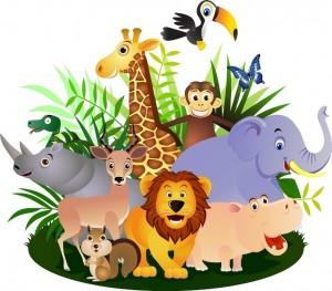 set-con-10-ilustraciones-de-animales-de-la-selva-dibujos-vectoriales-